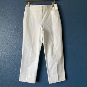 Chico's White Cropped Cuffed Dress Pants Small